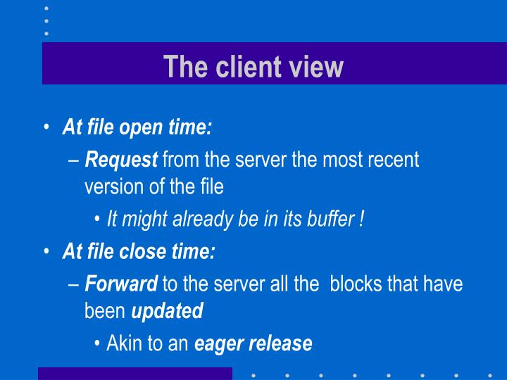 The client view