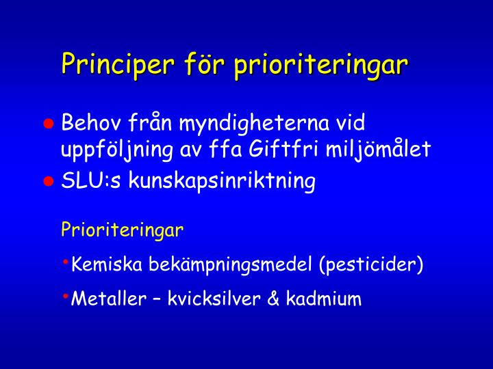 Principer för prioriteringar