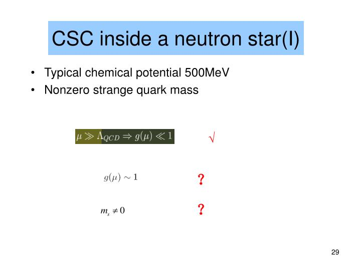 CSC inside a neutron star(I)