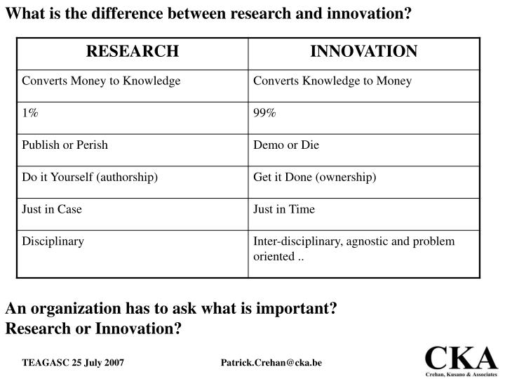 What is the difference between research and innovation?