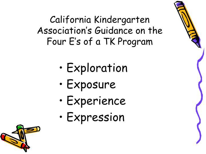California Kindergarten Association's Guidance on the