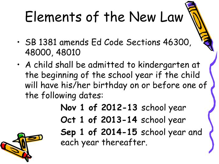 Elements of the new law