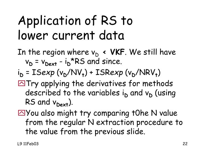 Application of RS to