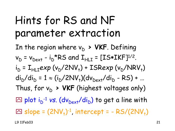 Hints for RS and NF