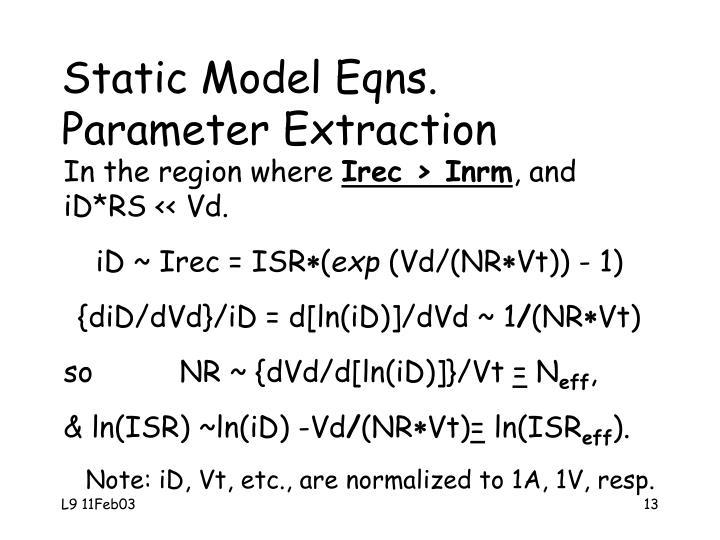 Static Model Eqns.