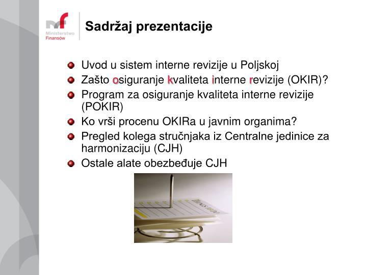 Sadržaj prezentacije