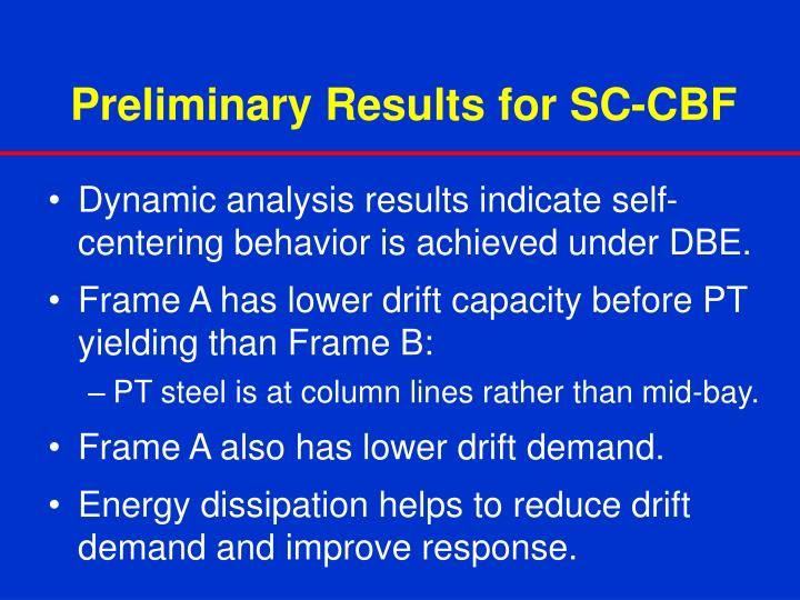Preliminary Results for SC-CBF