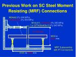 previous work on sc steel moment resisting mrf connections