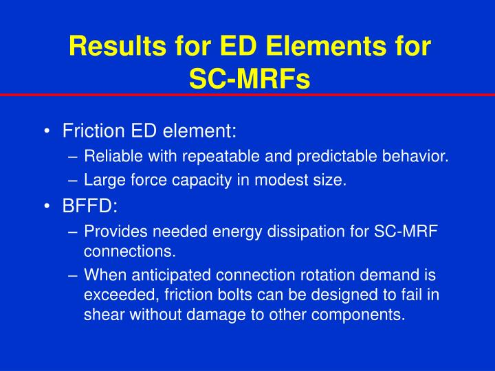 Results for ED Elements for SC-MRFs