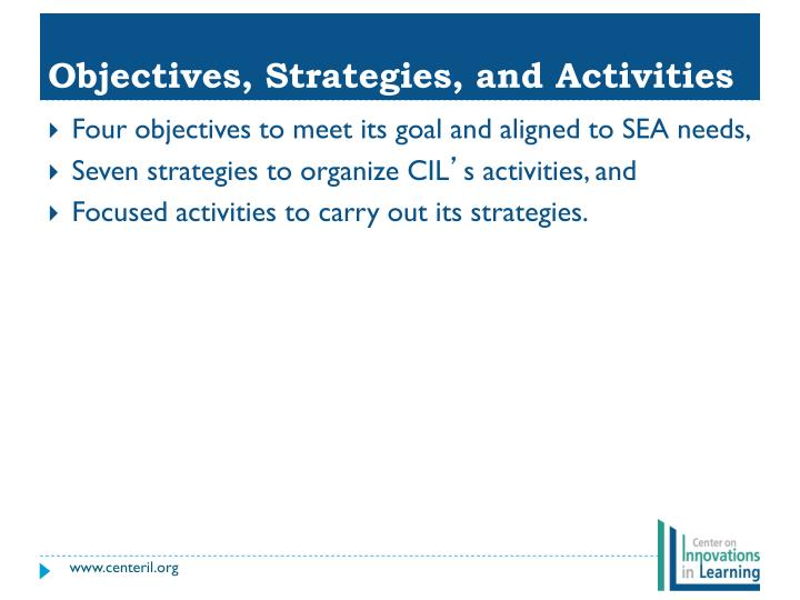 Objectives, Strategies, and Activities