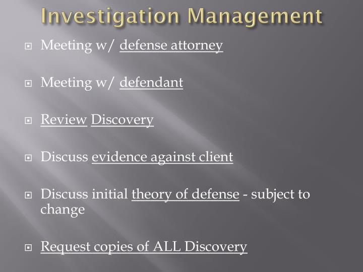 Investigation Management