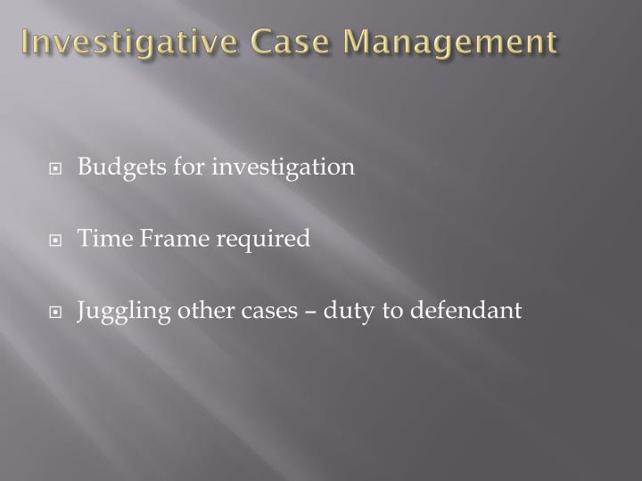 Investigative Case Management