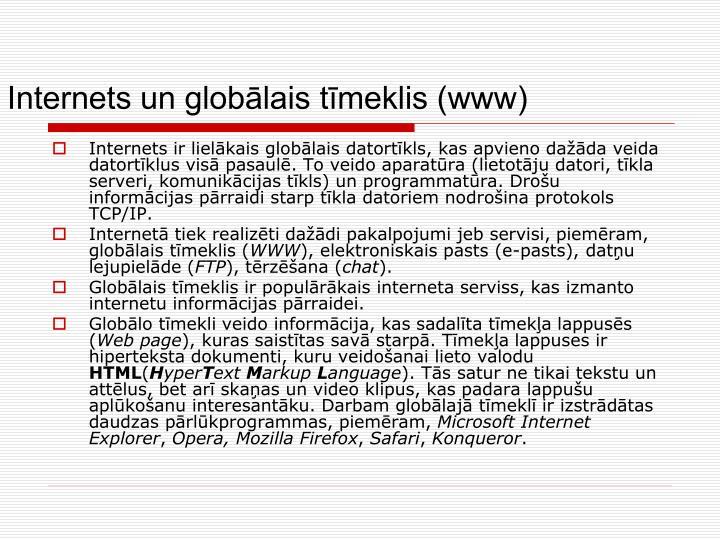 Internets un globālais tīmeklis (www)
