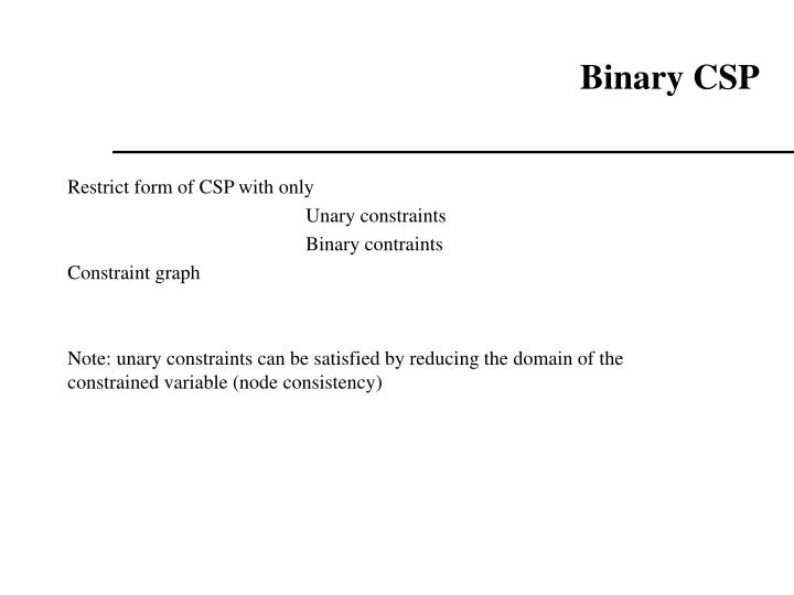 Binary CSP