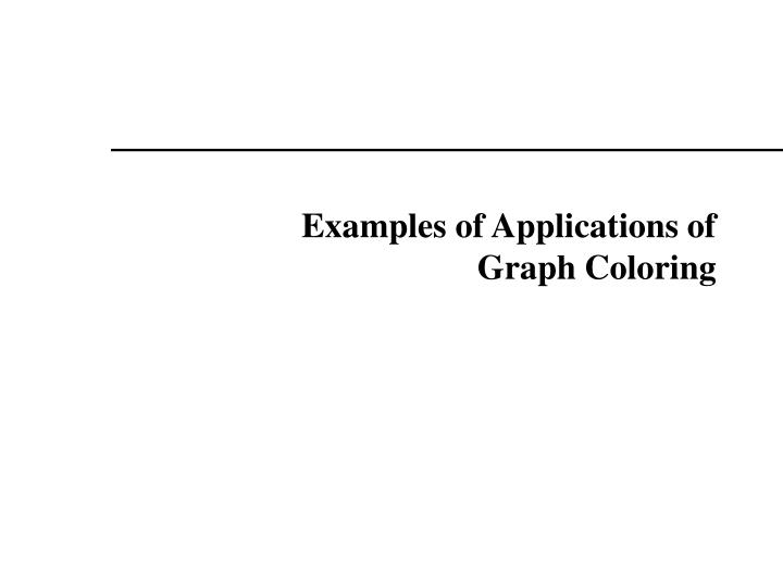 Examples of Applications of