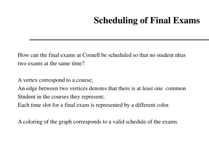 Scheduling of Final Exams