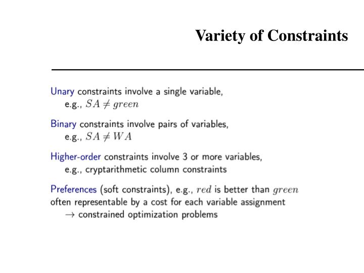 Variety of Constraints