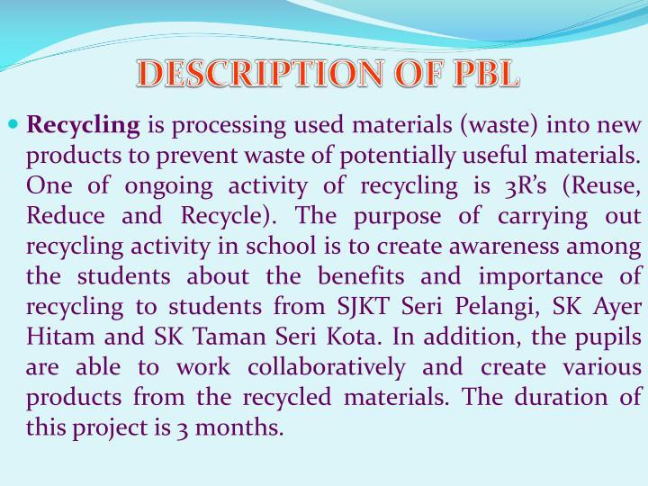DESCRIPTION OF PBL