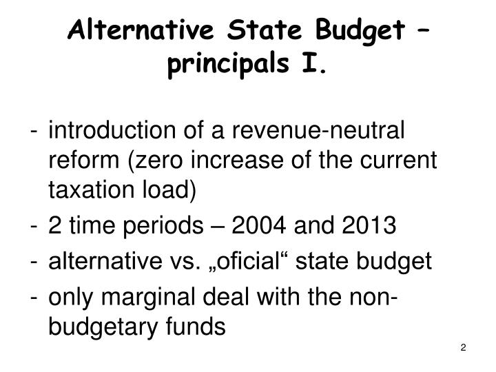 Alternative state budget principals i