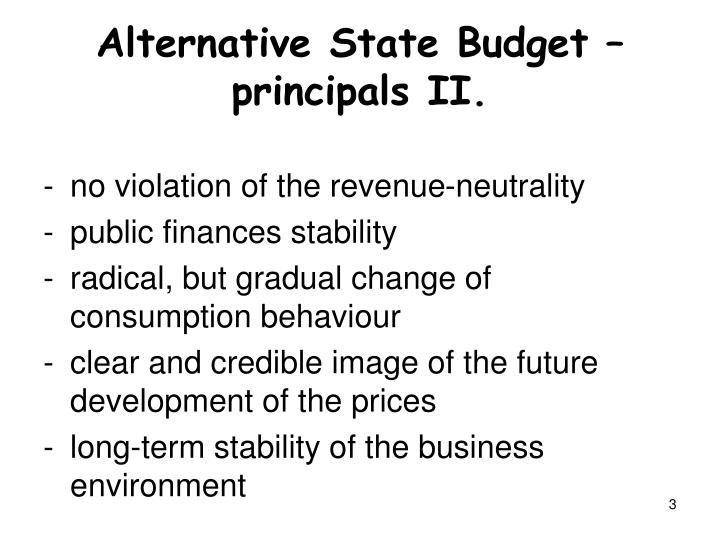 Alternative State Budget – principals II.