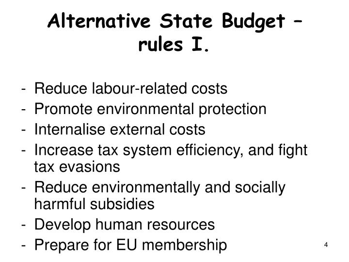 Alternative State Budget – rules I.