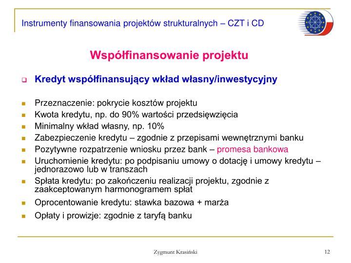 Kredyt współfinansujący wkład własny/inwestycyjny