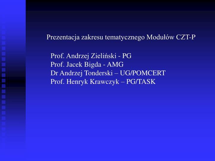 Prezentacja zakresu tematycznego Modułów CZT-P
