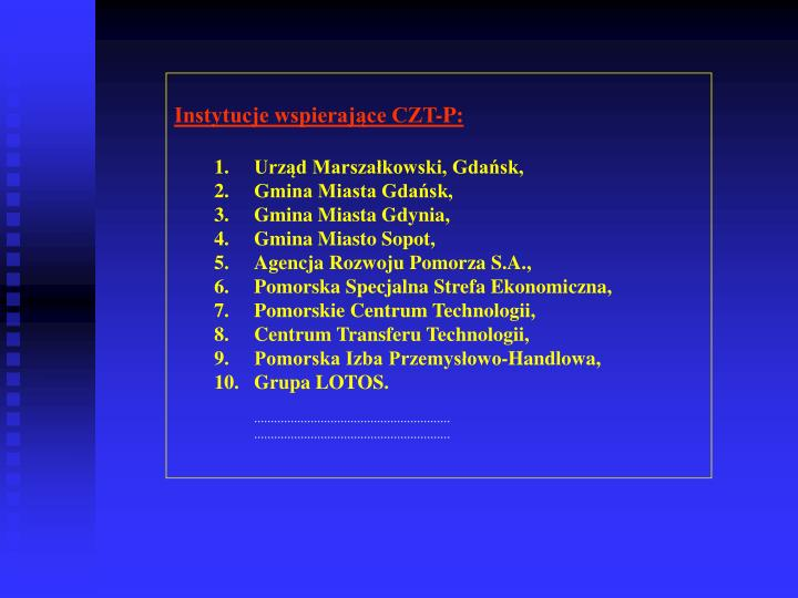 Instytucje wspierające CZT-P: