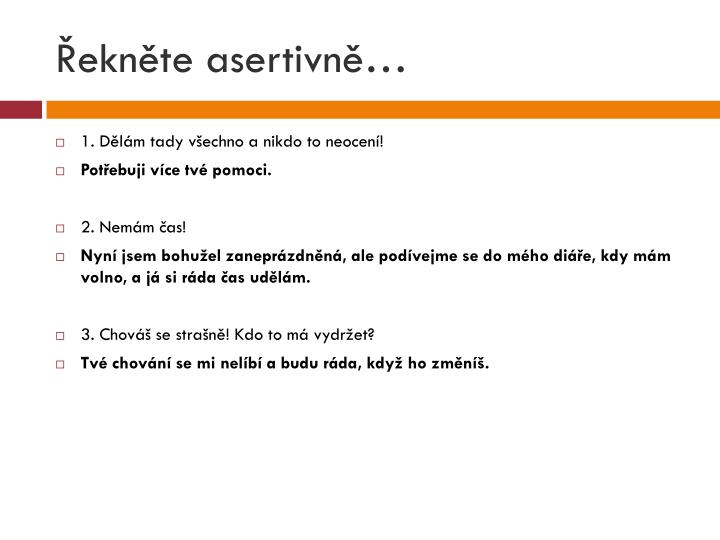 Řekněte asertivně…