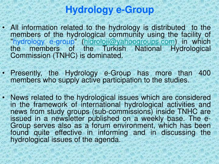 Hydrology e-Group