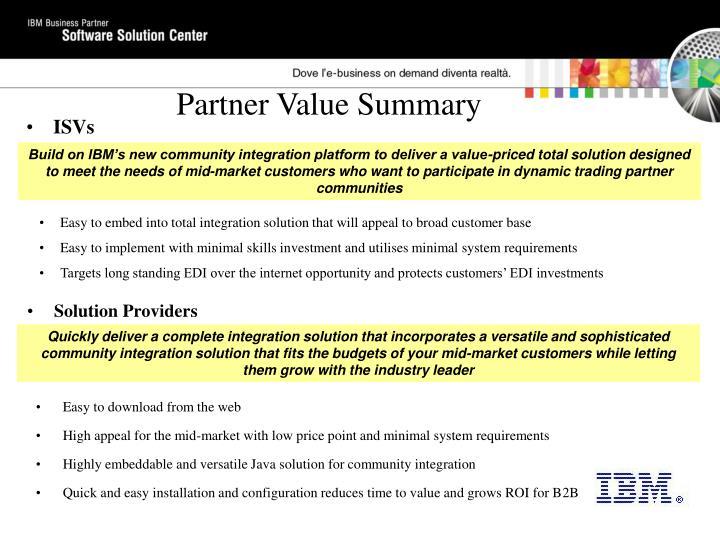 Partner Value Summary