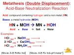 metathesis double displacement acid base neutralization reaction