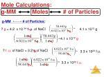 mole calculations g mm moles of particles1