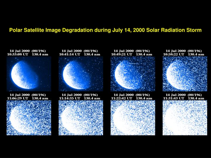 Polar Satellite Image Degradation during July 14, 2000 Solar Radiation Storm