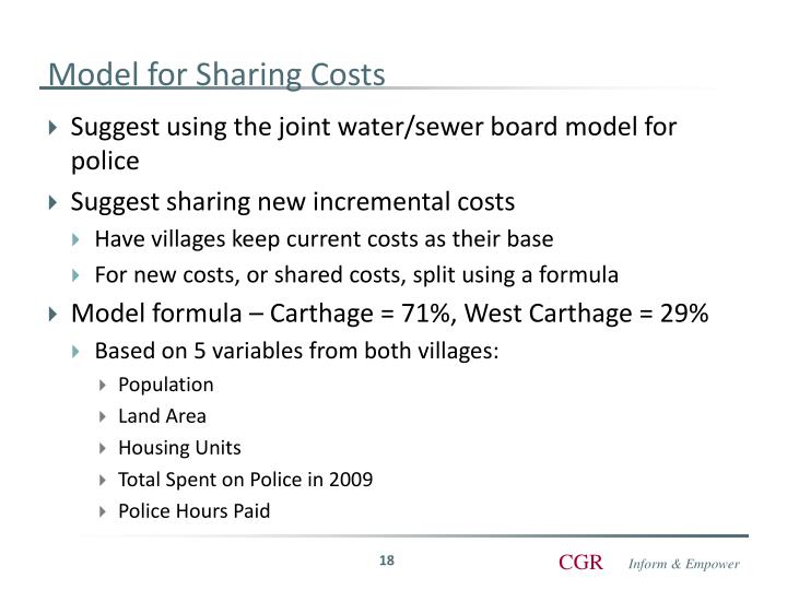 Model for Sharing Costs