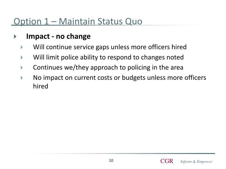 Option 1 – Maintain Status Quo
