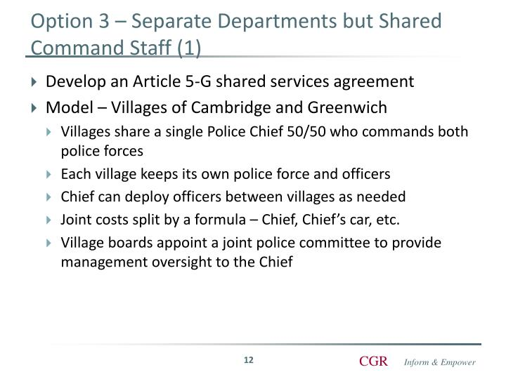 Option 3 – Separate Departments but Shared Command Staff (1)