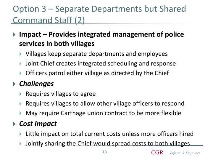 Option 3 – Separate Departments but Shared Command Staff (2)