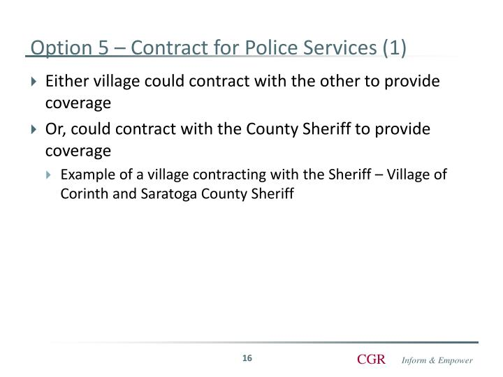 Option 5 – Contract for Police Services (1)