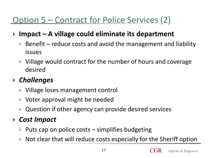 Option 5 – Contract for Police Services (2)