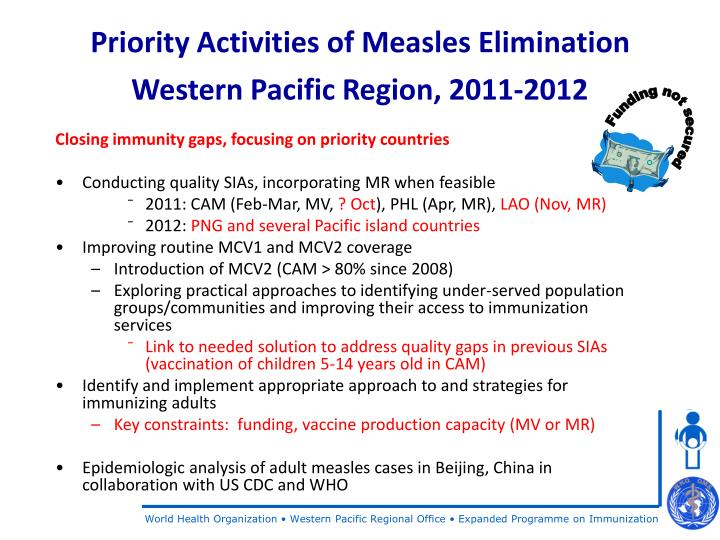 Priority Activities of Measles Elimination