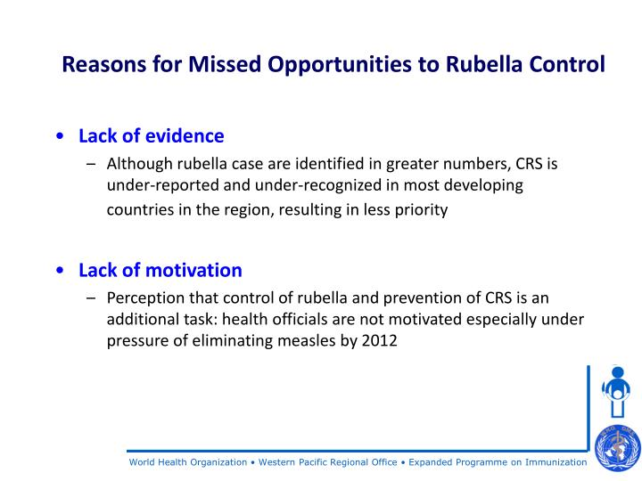 Reasons for Missed Opportunities to Rubella Control