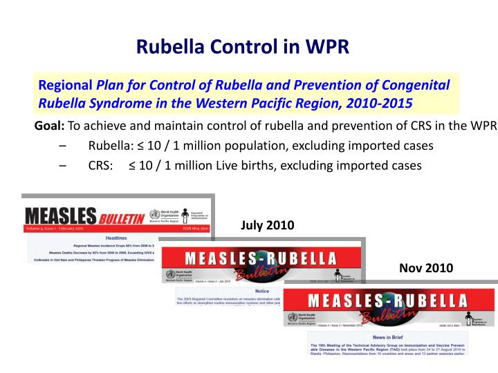 Rubella Control in WPR