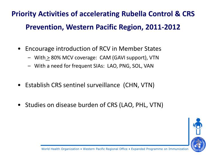 Priority Activities of accelerating Rubella Control & CRS Prevention, Western Pacific Region, 2011-2012