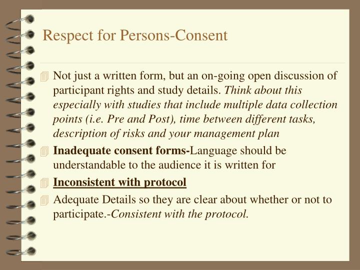 Respect for Persons-Consent