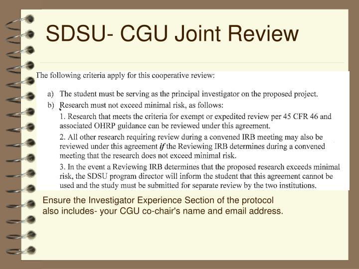 SDSU- CGU Joint Review