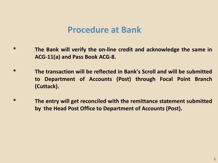 Procedure at Bank