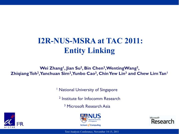 I2R-NUS-MSRA at TAC 2011: