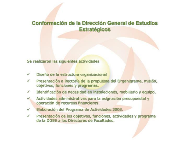 Conformación de la Dirección General de Estudios Estratégicos