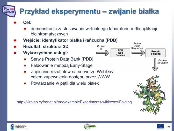 Przykład eksperymentu – zwijanie białka